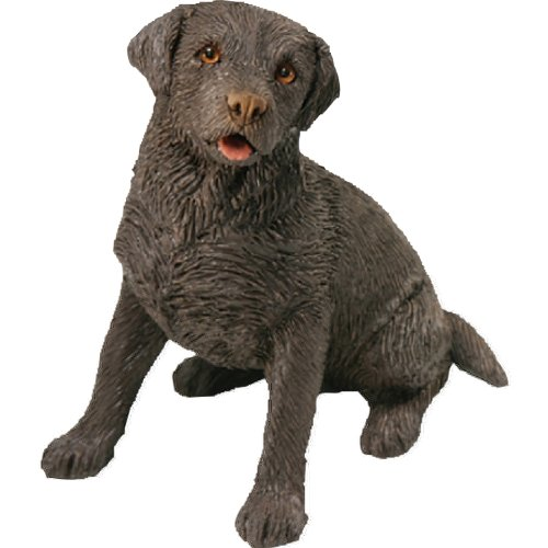 Sandicast Small Size Chocolate Labrador Retriever Sculpture - Sitting