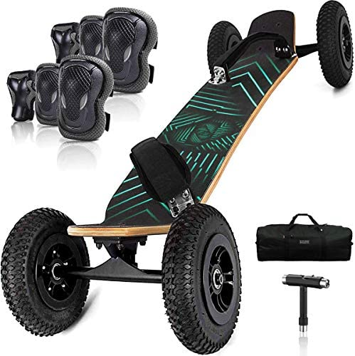 Hi-Na Mountain Board All Terrain Skateboard Kiteboard Cross Country Mountainboard Big Wheel Downhill Longboard All Terrain Longboard Kite Board with Bindings for Cruising and Downhill