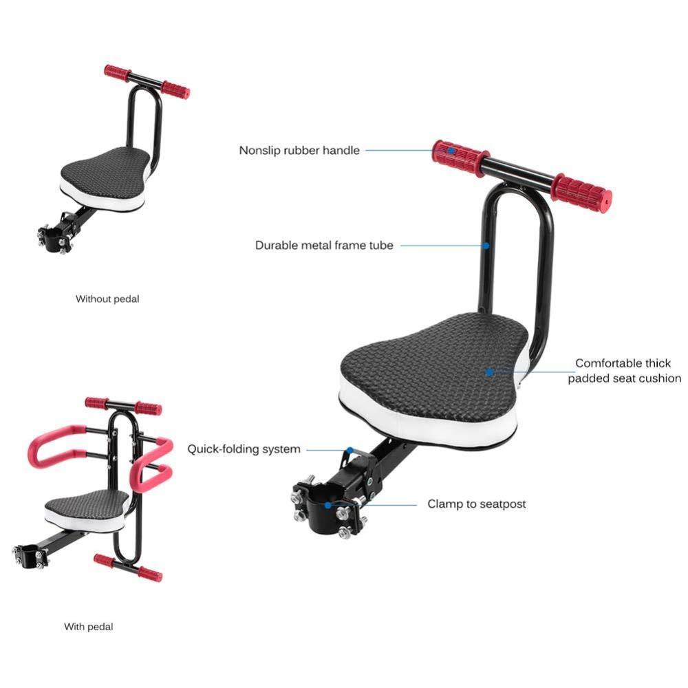 Child Seats Asiento Infantil para Bicicleta De Montaje Frontal Asiento De Beb/é Ajustable Ajustable Asiento De Seguridad para Ni/ños,Black+Red