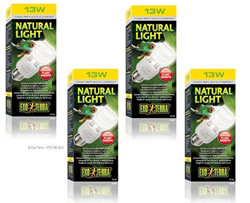 (4 Pack) Exo-Terra Repti-Glo 2.0, Full Spectrum Terrarium Lamp, Compact Fluorescent, 13 Watt by Exo Terra
