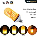 Flame LED Flickering Flame Light Bulbs 3 Modes and Gyro Sensor,1500K True Fire Color,700 Lumens Nature effect,108pcs 2835 LED Beads Simulated Decorative Light