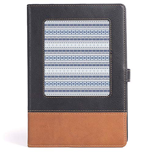 Kid Drawn Border - Hardcover Executive Notebook - Indian - Ethnic Hand Drawn Tribal Motifs Geometric Borders Striped Native Art Decorative - 100 sheets/200 pages - A5/6.04x8.58 in