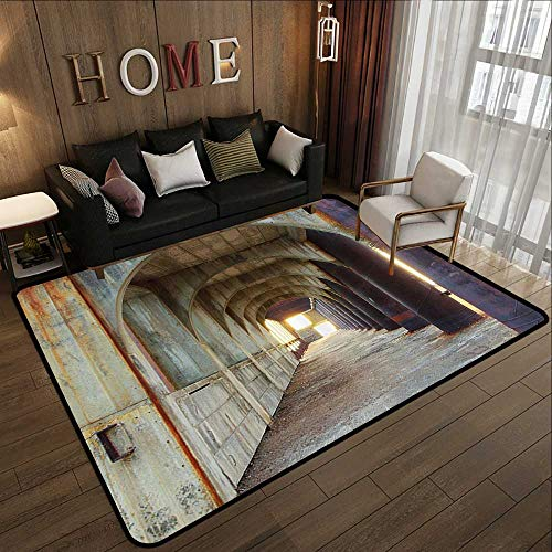 Contemporary Synthetic Rug,Apartment Decor,Corridor of Concrete Pillars Structure Urban Industrial Rustic Home Decoration,Brown Purple 78.7