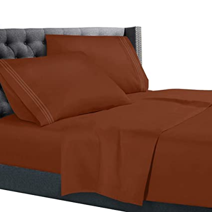 Exceptional Split King Size Bed Sheets Set Rust Orange, Bedding Sheets Set On Amazon, 5
