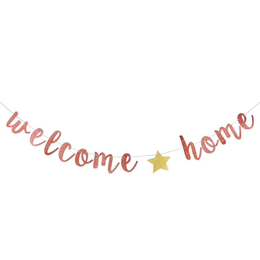 Welcome Home Rose Gold Glitter Banner for Housewarming, Homecoming Return Party, Wedding Celebration, Family Theme Party Supplies, Photo Booth Props Sign