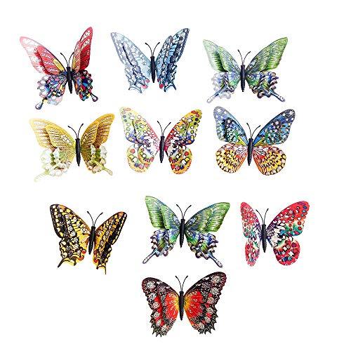 10pcs 3D double-deck Butterfly Magnetic Home Decor, Art