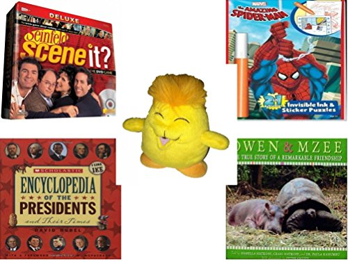"""Children's Gift Bundle - Ages 6-12 [5 Piece] - Scene It? Seinfeld - Amazing Spider-man Invisible Ink and Stickers Puzzle - Neopets Chia Plush 6"""" - Scholastic Encyclopedia Of The Presidents And Their"""