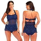 Womens Two Piece Swimsuits Swimwear Bikini Sets Bathing Suit (M, Blue)