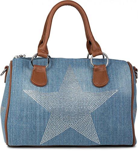 styleBREAKER bolso de mano vaquero estilo bolera con aplicación de estrella de estrás, bolso de bandolera, bolso, de señora 02012111, color:azul azul