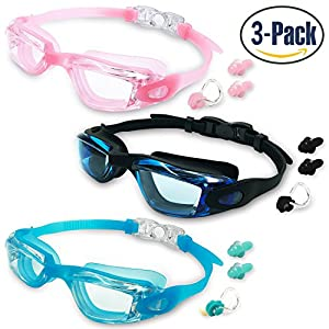MOTOEYE Kids Swim Goggles Pack of 3,Swimming Glasses for Children and Early Teens,Boys and Girls from 3 to 15 Years Old,with Anti-Fog UV Protection Lenses
