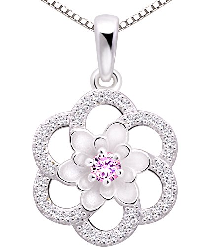 ALOV Jewelry Sterling Silver Love Peace Happiness Cubic Zirconia Pendant Necklace (Pink)