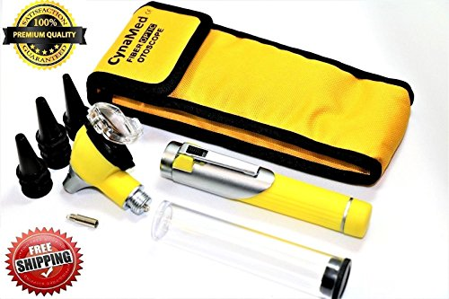 Premium STUDENT HOME USE LED Bright Light ENT Diagnostic Otoscope Pocket Size ( YELLOW) + 1 Free Extra Replacement Bulb ( CYNAMED ) by CYNAMED