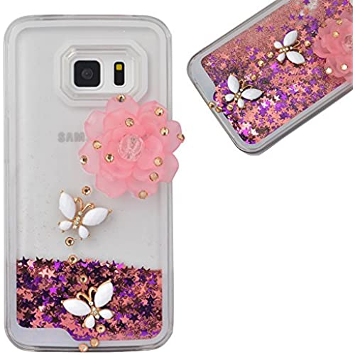 Spritech(TM) Hard Clear Phone Case For Samsung Galaxy S7,3D Handnade Crystal Pink Flower White Butterfly Glittery Sales