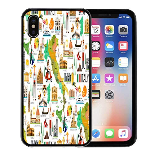 - Emvency Phone Case for Apple iPhone Xs case,Sicily Map of Italy and Travel Wine Europe Florence Italian Cartoon for iPhone X Case,Rubber Border Protective Case,Black