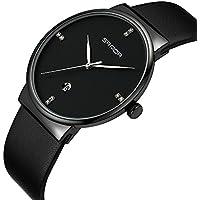 Hams Mens Watches Slim Men Watch Quartz Watch Black Leather Strap Men Wristwatches Watch