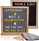 Gray and Black, Double Sided Letter Board 362 White & Yellow Letters, Premium Oak Wood Frame, Soft Felt Bag, 10x10 Message Board