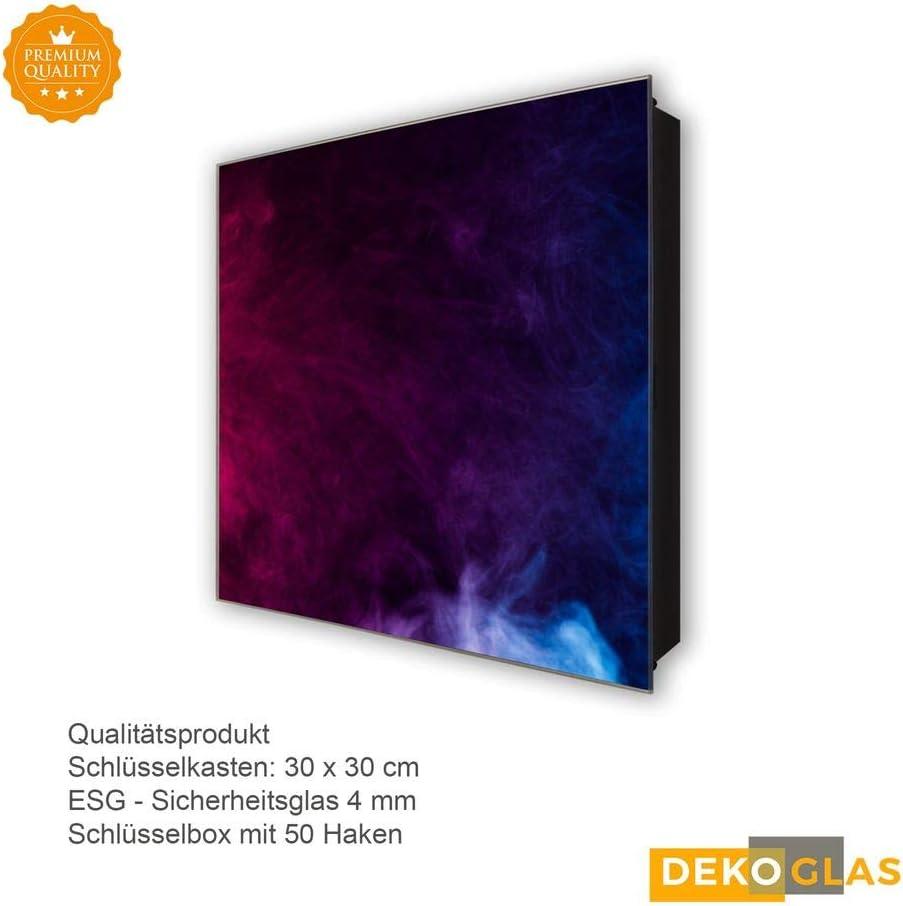 DekoGlas Schl/üsselkasten Lila Blau Rauch 30x30 Glas Haken Schl/üsselbrett Schl/üssel-Box Design Aufbewahrung inkl