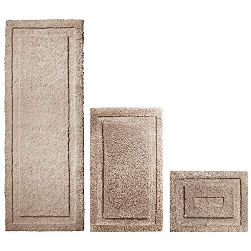 mDesign Soft Microfiber Polyester Spa Rugs for Bathroom Vanity, Tub/Shower - Water Absorbent, Machine Washable - Includes Plush Non-Slip Rectangular Accent Rug Mats in 3 Sizes - Set of 3 - Linen/Tan (Dark Tan Linen)
