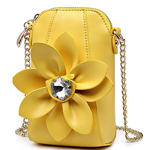 La Sra. Rhinestone Florece El Monedero Del Bolso Del Teléfono Bolso Del Mensajero Golpea El Mini Bolso Del Color Yellow