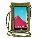 Yinuo Fashion Flower Design Crossbody PU Leather CellPhone Case Pouch Bag for LG G5 / G4 / LG V10 / G Vista 2 / Motorola Moto X Pure Edition / DROID Turbo 2 (DarkGreen)