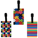 Luggage Tag - Pack of 3 (1i409) - Puzzle, Chequered and Lines Bag Travel Tag
