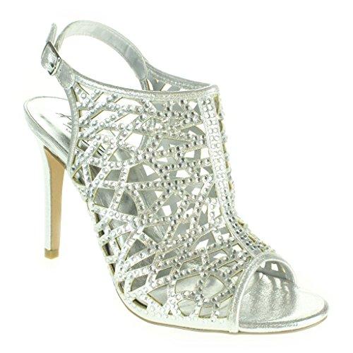 Frau Damen Kristall Diamant Abend Hochzeit Party Abschlussball Braut High Heel Slingback Sandalen Schuhe Größe Silber.