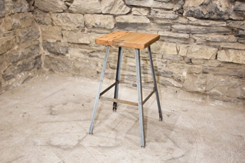 The Basic Brew Bar Stool | Reclaimed Seat | Hand Made | Industrial Base | Free Shipping For Sale