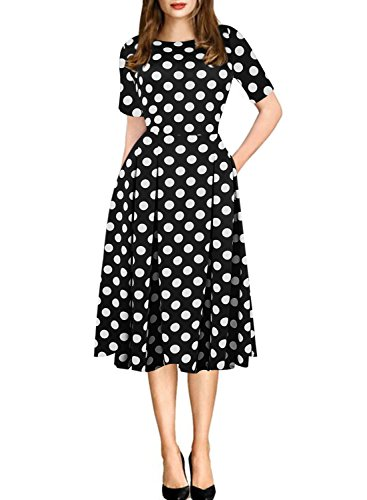 oxiuly Women's Vintage Black Dot Patchwork Pocket Puffy Swing Casual Dress OX165 (M, Black dot)