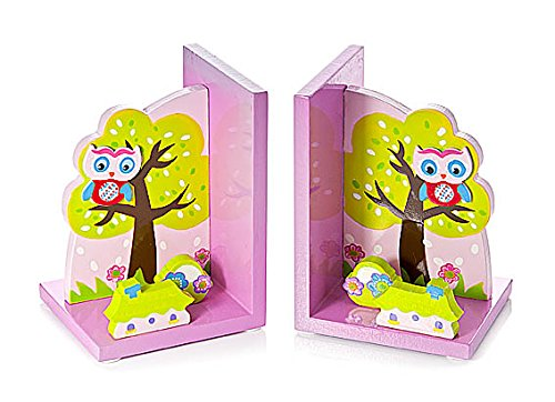 Mousehouse Gifts Wooden 3D Pink Owl Themed Children's Bookends for Girls Nursery or Bedroom MH-100357