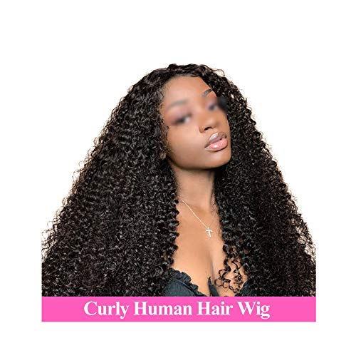 Lotus leaf fragrance Mongolian Kinky Curly Human Wigs Women Full Lace Human Wigs 134/136 Kinky Curly Lace Front Human Wigs,Natural Color,18inches,180 Density 13x4 Wig