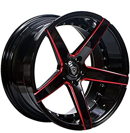 22 Inch Tires >> Amazon Com 22 Inch Rims Black And Red Full Set Of 4 Wheels