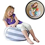 """Stuff 'n Sit - The Stuffable Storage Bean Bag - Clean up Your Kid's Room and Put Those Stuffed Animals to Work for You! - By Creative QT (27"""" Grey/White Striped)"""