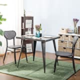 Harper&Bright Designs Vintage Style Square Metal Dining Table (Golden Black)