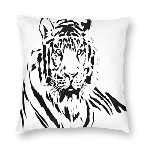 K0k2to Tiger Throw Pillow Cushion Cover,Black Stripes of A Large Hunter Cat Nature Scenes Beautiful Sublime Beast Digital Artwork,Decorative Square Accent Pillow Case