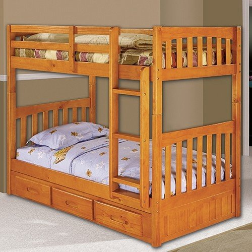 Discovery World Furniture Twin over Twin Bunk Bed with 3 Drawer Storage, - One All Loft Discovery
