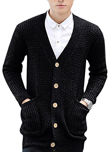Men's Casual Loose Knitted Churky Sweater Button Shawl Long Cardigan with Pockets