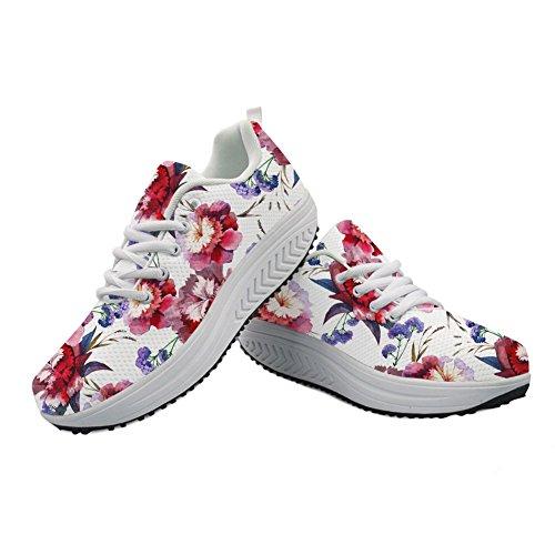 チート評価可能悪党Cozeyat(jp) ウォーキングシューズ レディース シーソーヒール 歩きやすい かわいい 花柄