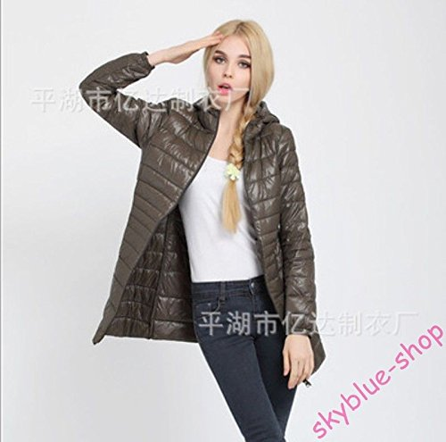 L S Jacket Colors Down Army S Ladies Asia Outwear Parka Coat UK Thin Slim Fit Hooded Asia UK Long green Candy New Black XXS wqEqPCTZ