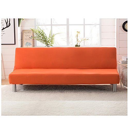 Sofa Bed Futon Cover Protector Elastic Stretch Spandex Modern Simple Solid Color Living Room Couch Slipcovers Orange (Cover Futon Bright)