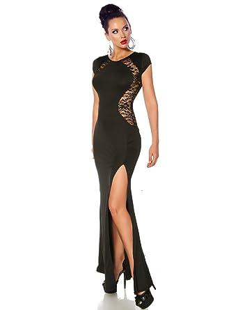 Stunning Long Black Dress Maxi Gown Lace Back Insert Thigh Split