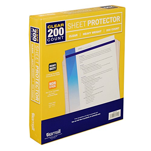 Samsill Heavyweight Clear Sheet Protectors, Box of 200 Plastic Page Protectors, Acid Free / Archival Safe, Top Load