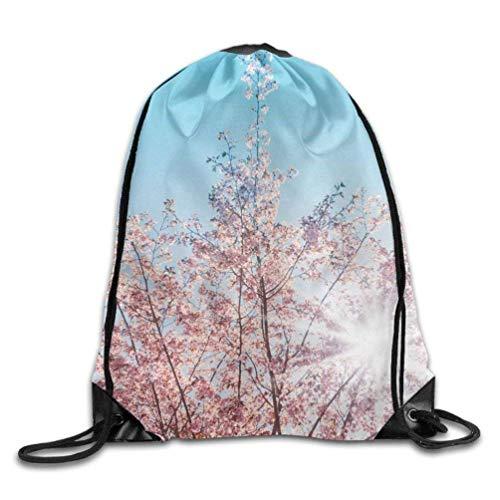 (YINREN Spring Sunshine Cherry Tree Blossom- Unisex Home Gym Sack Bag Sport Drawstring Backpack Bag)