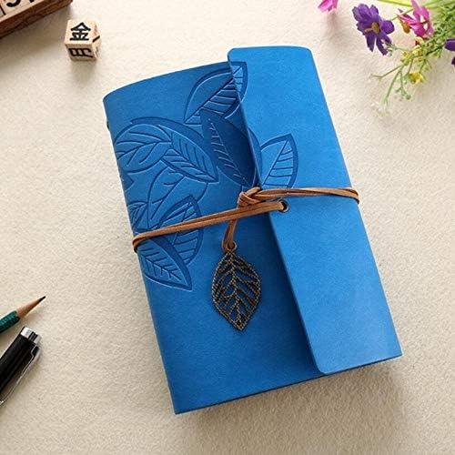 CgngMz 5 Zoll 14,5 x 10,5 cm PU-Leder Vintage Khaki Papier Ahornblatt Fotoalbum Tagebuch Notizbuch 80 Blatt Stahlring Bindung Lron Blätter, Himmelblau
