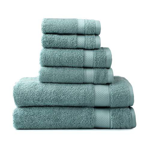 (Wamsutta 6-Piece Hygro Duet Bath Towel Set Includes Washcloths,Hand Towels Bath Towels (SEA))
