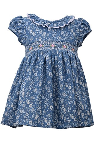 Blue Smocked Dress (Bonnie Jean Girls Blue Smocked Ruffle Dress (12m-4t) (12 months))