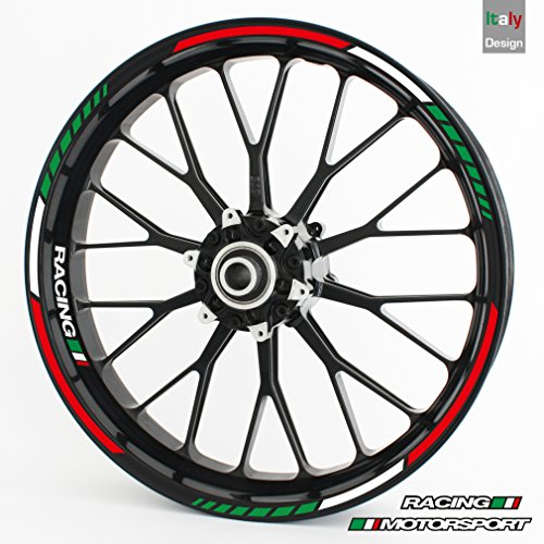 Wheel rim sticker RS - ITALY TRICOLORE - Complete set for 15