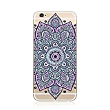 For iPhone 8 / iPhone 7 TPU Case Clear, CrazyLemon Non-slip Transparent Flexible Soft TPU Silicone Back Rubber Bumper Clear 3D Variety Colorful Mandala Flower Pattern Design Protector Cover Case for iPhone 7 / iPhone 8 4.7 inch - Mandala Flower Pattern 37