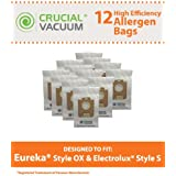 12 High Quality Allergen-rated Paper Vacuum Bags for Electrolux Harmony Oxygen Vacuums; Compare to Electrolux Part Nos. 61230, 61230a, 61230b and 61230c; Designed & Engineered by Think Crucial