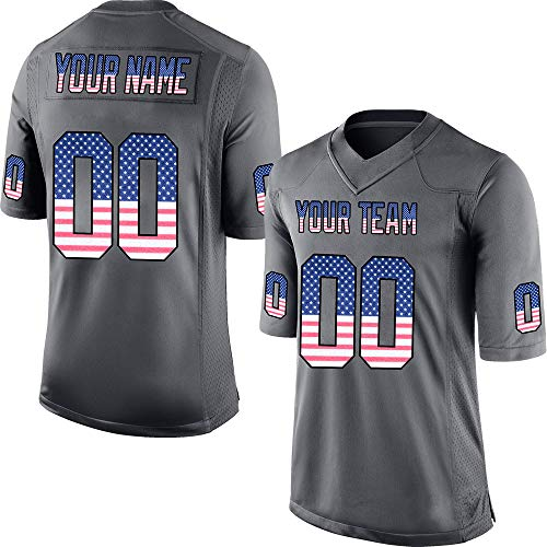 (Custom Men's Camo Anthracite Salute to Service Football Jersey Stitched Team Name and Your Numbers,American Flag Size 3XL)