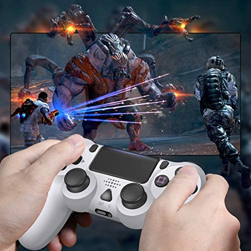 PS4 Controller,Wireless Controller for Playstation 4/Slim/Pro/PC,PS4 Remote with Dual Vibration/6-axis Gyro/Speaker/Light-Bar and USB Cable(White)